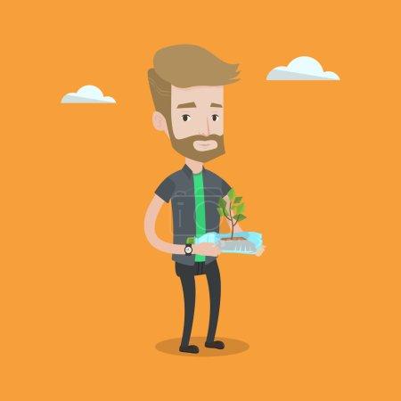 Illustration pour Hipster homme avec la barbe tenant dans les mains bouteille en plastique avec la plante poussant à l'intérieur. Homme tenant une bouteille en plastique utilisée comme pot de plante. Concept de recyclage. Illustration vectorielle de design plat. Aménagement carré . - image libre de droit