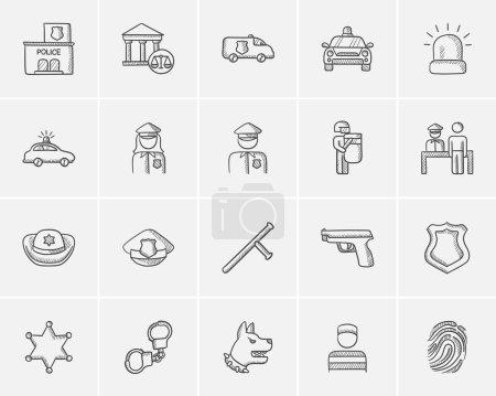 Police sketch icon set.