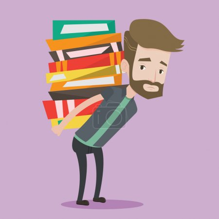 Illustration for A hipster tired student with the beard carrying a heavy pile of books on his back. Upset student walking with huge stack of books. Concept of education. Vector flat design illustration. Square layout. - Royalty Free Image