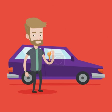 Man holding keys to his new car.