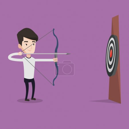 Illustration for Young caucasian sportsman shooting with bows during archery competition. Bowman aiming with bow and arrow at the target. Archer practicing with bow. Vector flat design illustration. Square layout. - Royalty Free Image