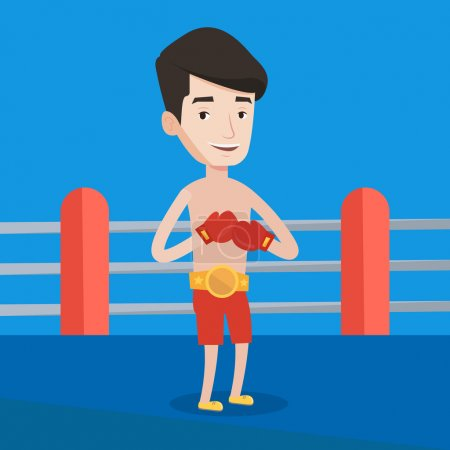 Confident boxer in the ring vector illustration.