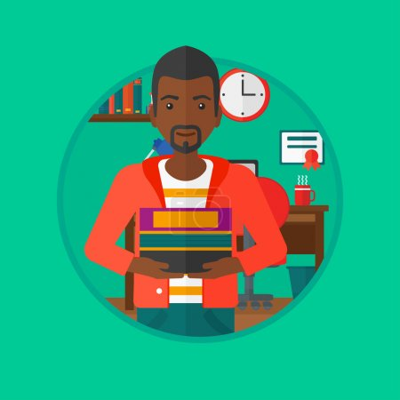Illustration for An african-american student holding pile of books. Man with pile of books in hands at home. Smiling student with stack of books. Vectr flat design illustration in the circle isolated on background. - Royalty Free Image
