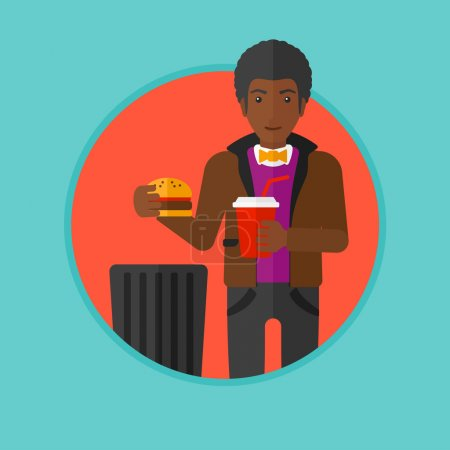 Illustration for An african man putting junk food into trash bin. Man refusing to eat junk food. Man rejecting fast food. Man throwing junk food. Vector flat design illustration in the circle isolated on background. - Royalty Free Image