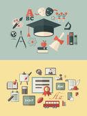Education Infographic Elements plus Icon Set Vector