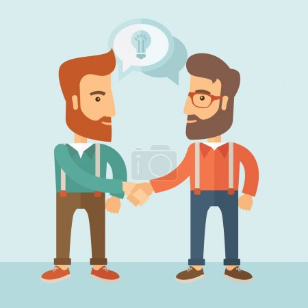Illustration for Two businessmen with beards shaking hands and sharing ideas. Partnership concept. Vector flat design Illustration - Royalty Free Image