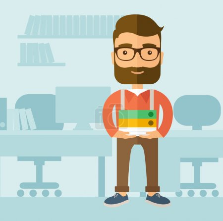 Illustration for The office clerk with a beard standing in front of his desk and holding office documents. Office job concept. Vector flat design illustration - Royalty Free Image