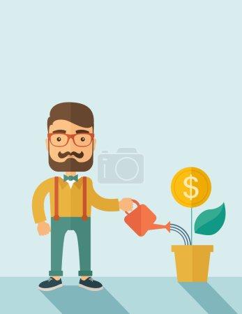 Illustration pour Un actionnaire, investisseur hipster homme d'affaires caucasien à la barbe arrosant joyeusement une usine avec un signe de dollar sur le dessus. Carrière, concept d'investisseur. Un style contemporain avec une palette pastel douce - image libre de droit
