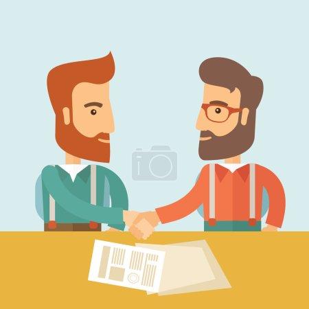 Illustration pour Deux hommes d'affaires caucasiens hipster à la barbe serrée. Des hommes d'affaires hippies en réunion signant l'accord avec des papiers sur la table. Partenariat, concept de leadership. Un contemporain - image libre de droit