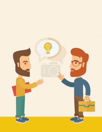 Illustration for Two hipster Caucasian friends with beard standing  planning and sharing brilliant ideas with their hands raising on what kind of business they want to build up.  Human intelligence concept. A - Royalty Free Image