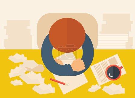 Illustration pour Un écrivain est assis devant la table face à la pensée vers le bas sur ce qu'il faut écrire avec sa plume, papier et café à côté de lui. Concept d'écriture et de réflexion. Un style contemporain avec une palette pastel - image libre de droit