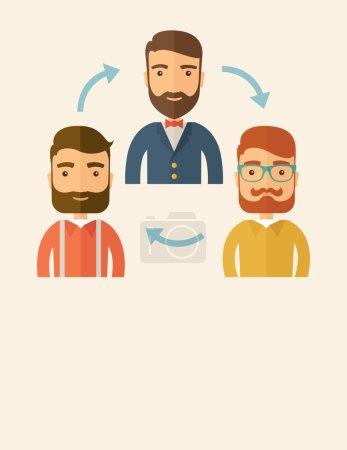 Illustration pour Trois employés caucasiens heureux avec barbe communiquer et échanger des idées pour eux d'élaborer une bonne stratégie de marketing avant qu'ils ne le présentent. Travail d'équipe et collecte d'idées - image libre de droit