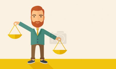 Illustration for A hipster Caucasian businessman with beard carrying a balance scale with both hands weighing want and need. Balancing and priorization concept.  A contemporary style with pastel palette, beige tinted - Royalty Free Image