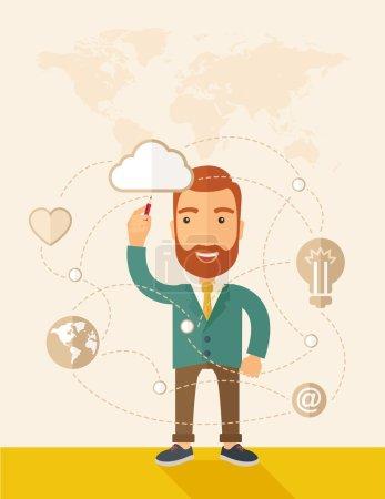 Illustration pour Un homme d'affaires caucasien heureux et hipster, barbu, vêtu d'une veste, levant la main droite tenant un stylo illustrant, interprétant son plan marketing à l'intérieur de la salle de conférence. Plan d'entreprise - image libre de droit