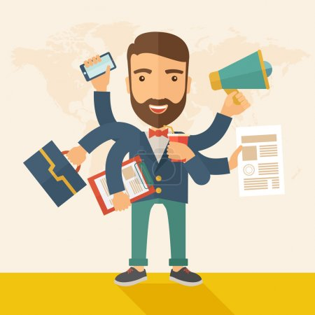 Illustration for A young happy hipster Caucasian with beard has six arms doing multiple office tasks at once as a symbol of the ability to multitask, performing multiple task simultaneously. Multitasking concept. A - Royalty Free Image