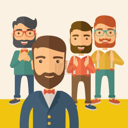 Illustration for Team of four happy hipster Caucasian business people with beard, standing clapping their hands and smiling. Winner, teamwork concept. A contemporary style with pastel palette, beige tinted background - Royalty Free Image