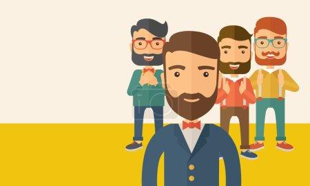 Illustration pour Équipe de quatre heureux hipster hommes d'affaires caucasiens avec la barbe, debout battant des mains et souriant. Gagnant, concept de travail d'équipe. Un style contemporain avec une palette pastel, fond teinté beige - image libre de droit