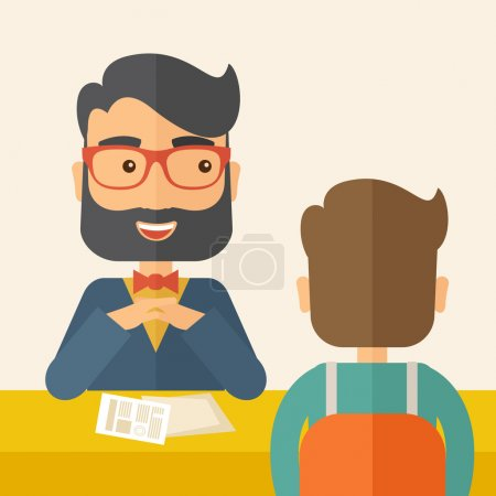Illustration for A smiling Caucasian human resource manager with beard interviewed the applicant with his curriculum vitae for the job vacancy.  Employment, recruitment concept. A contemporary style with pastel - Royalty Free Image
