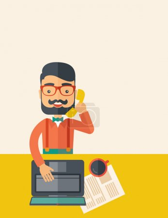 Photo for Hipster Caucasian online customer service operator with beard smiling while talking to his customer inside his office. Business communication concept. A contemporary style with pastel palette, beige - Royalty Free Image
