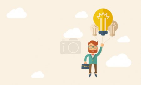 Illustration for A caucasian hipster with beard carrying a briefcase with bulb as balloon to take him fly high. Happy and success concept. A contemporary style with pastel palette, beige tinted background with - Royalty Free Image