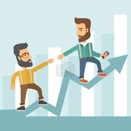 Illustration for Two hipster Caucasian businessmen with beard standing working together to reach their quota in sales with the arrow up showing that they are successful. Teamwork concept. A contemporary style with - Royalty Free Image