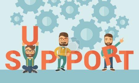 Illustration pour Trois hommes d'affaires caucasiens hipster barbe tenant une lettre, c'est un message de soutien dont ils ont besoin de l'aide des autres. Concept de travail d'équipe. Un style contemporain avec une palette pastel bleu doux teinté - image libre de droit