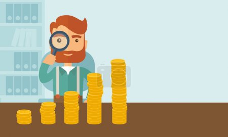 Illustration for A hipster Caucasian businessman with beard looking his growing business in financial crisis concept. Economy and money, coin and success. When others falls, we rise up. A contemporary style with - Royalty Free Image