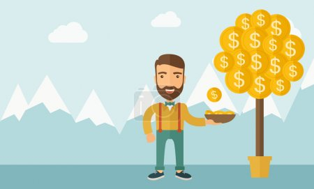 Illustration pour Un caucasien avec barbe debout tout en attrapant une pièce de monnaie de dollar de l'arbre de l'argent. Des signes de dollar poussent sur les branches et tombent des arbres. Un style contemporain avec une palette pastel bleu doux teinté - image libre de droit