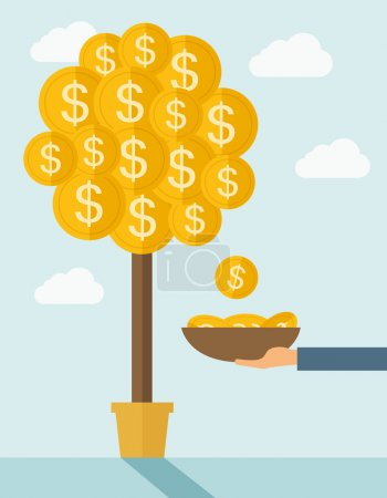 Illustration for A hand with container catches a dollar coin. Dollar signs coin growing on branches and falling from tree. A contemporary style with pastel palette soft blue tinted background with desaturated clouds - Royalty Free Image