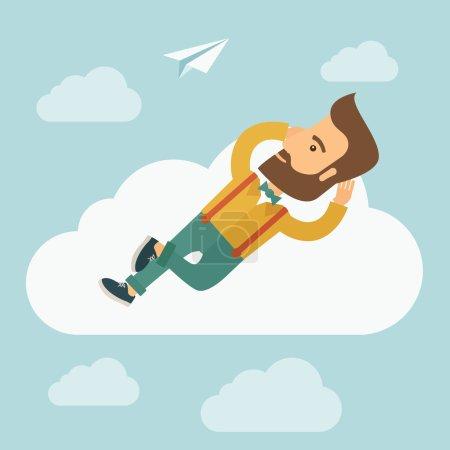 Beard man lying on a cloud