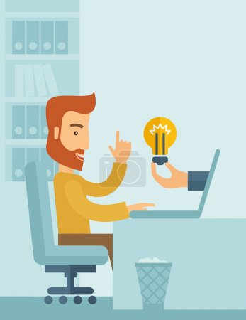 Illustration for A happy businessman with beard sitting while working infront of his desk getting a brilliant idea for business from the laptop. Business concept. A contemporary style with pastel palette soft blue - Royalty Free Image