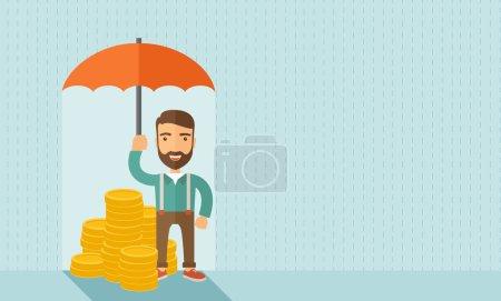 Illustration pour Un homme d'affaires avec parapluie de tenue debout barbe protéger son argent à des investissements, gestion des risques d'argent. Économiser de l'argent pour n'importe quel problème d'orage viendra. Concept d'affaires. Un style contemporain avec - image libre de droit