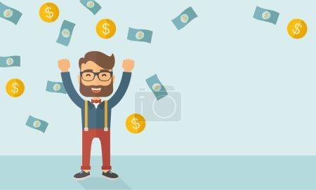 Illustration pour Un jeune homme d'affaires caucasien hipster heureux sous la pluie de pluie douche d'argent une pièce de monnaie et de billets d'argent. Gagnant, concept heureux. Un style contemporain avec une palette pastel fond teinté bleu doux - image libre de droit