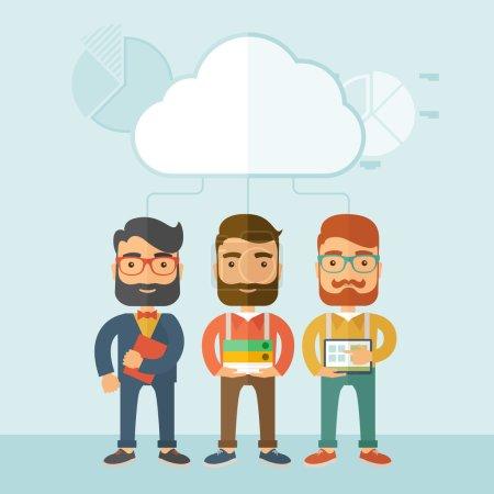 Illustration pour Trois jeunes cadres qui travaillent ensemble avec des idées et des tâches différentes construisent leur propre entreprise. Concept de travail d'équipe.. Un style contemporain avec palette pastel, fond bleu doux teinté avec désaturé - image libre de droit
