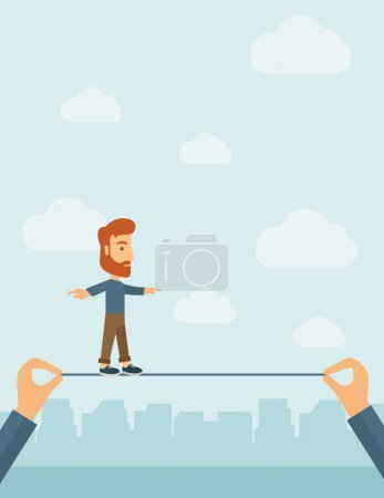 Businessman walking on wire.