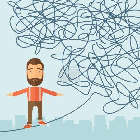 Illustration pour Un homme d'affaires marchant sur une longue corde à risque mais toujours très loin pour atteindre l'objectif. Concept de détermination. Un style contemporain avec palette pastel, fond bleu doux teinté. Conception plate de vecteur - image libre de droit