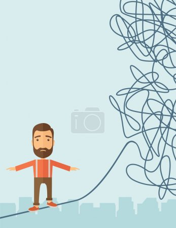 Illustration for A Businessman walking on a long rope at risk but still very far to reach the goal. Determination concept. A Contemporary style with pastel palette, soft blue tinted background. Vector flat design - Royalty Free Image