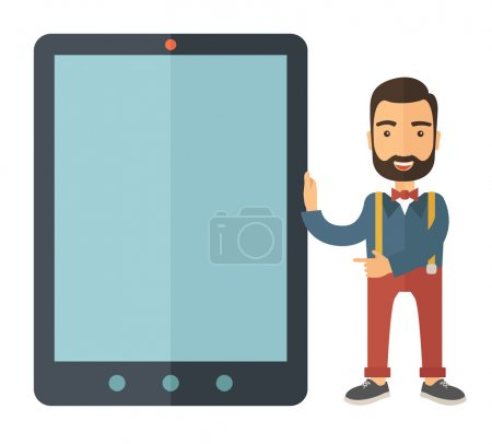 Man with big screen tablet.