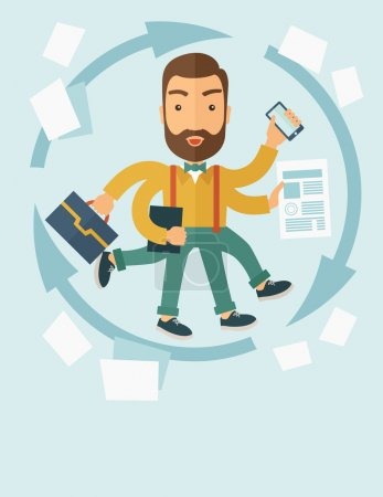 Illustration for A multitasking job is a man with many hands with successful planning elements, can handle many paper works. Time management concept. A contemporary style with pastel palette, soft blue tinted - Royalty Free Image