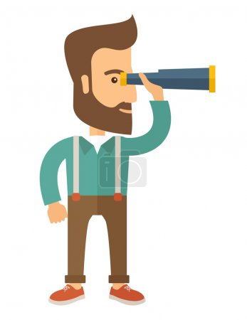 Illustration for A Caucasian with beard with binocular looking for something. A Contemporary style. Vector flat design illustration with isolated white background. Vertical layout - Royalty Free Image