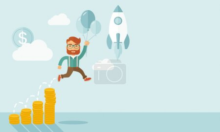 Illustration for Businessman holding balloons fly high with coin graph that shows increase in sales. Start up business concept. A Contemporary style with pastel palette, soft blue tinted background with desaturated - Royalty Free Image
