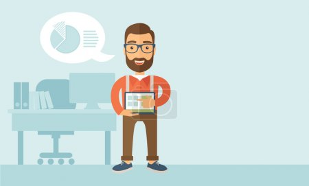 Illustration for A Caucasian man standing while his hand pointing to the tablet to do his office presentation with the schedule of financial market. Business concept.  A contemporary style with pastel palette, soft - Royalty Free Image