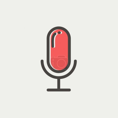 Retro microphone thin line icon