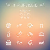 Food and drink thin line icon set for web and mobile Set includes-onion egg chicken meal set soda burger taco icons Modern minimalistic flat design Vector white icon on gradient mesh