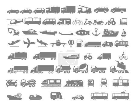 Illustration for Vehicle and Transportation flat icon set. Vector flat design illustration - Royalty Free Image