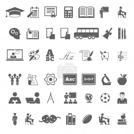 Set of school and education flat icons