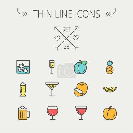 Photo pour Ensemble d'icônes de ligne mince pour aliments et boissons pour web et mobile. L'ensemble comprend des icônes d'ananas, orange, ine, tequilla, bière, melon. Design plat minimaliste moderne. Icône vectorielle avec contour gris foncé et décalage - image libre de droit