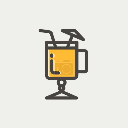 Cold ice tea with straw icon thin line for web and...