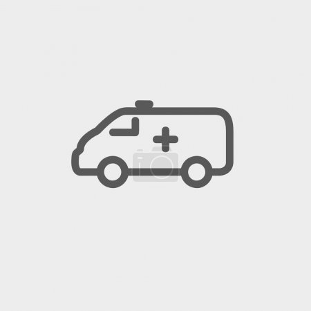 Illustration for Ambulance car icon thin line for web and mobile, modern minimalistic flat design. Vector dark grey icon on light grey background - Royalty Free Image