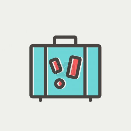Illustration for Travel luggage icon thin line for web and mobile, modern minimalistic flat design. Vector icon with dark grey outline and offset colour on light grey background - Royalty Free Image